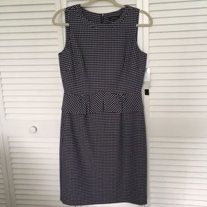 Eli Tahari Blue and White Polka Dot Dress